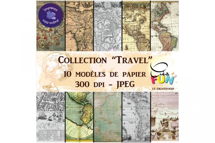 Lot de 10papiers numériques - Collection Travel 01
