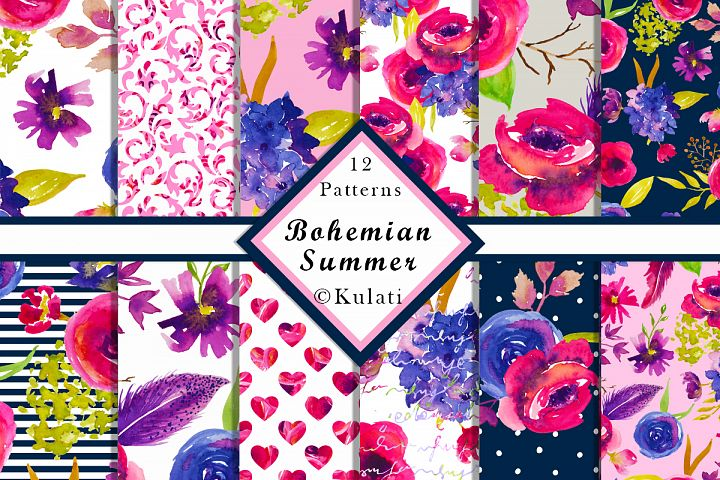 Bohemian Summer Watercolor Floral Patterns