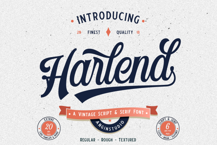 Harlend 6 fonts with extras intro