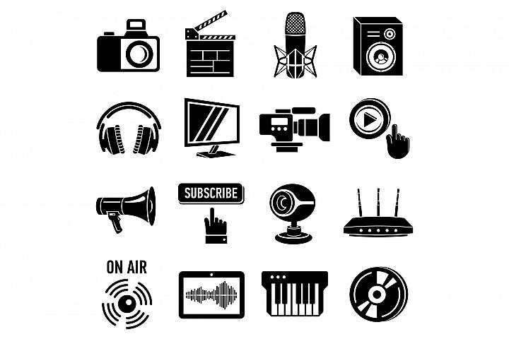 Multimedia internet icons set, simple style