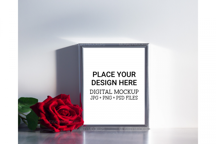 Silver Frame Mockup - Stock Photo for Wall Art Designs