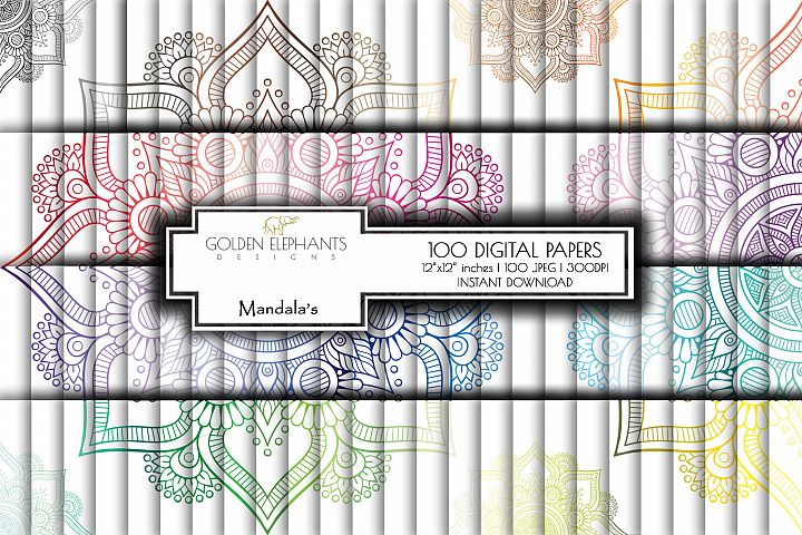 100 Seamless Mandala Digital Paper