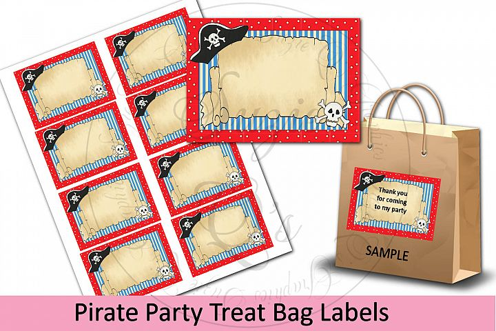 Pirate Party Treat Bag Labels
