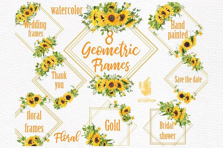 Geometric Sunflower Gold Frames, Wedding Frames clipart