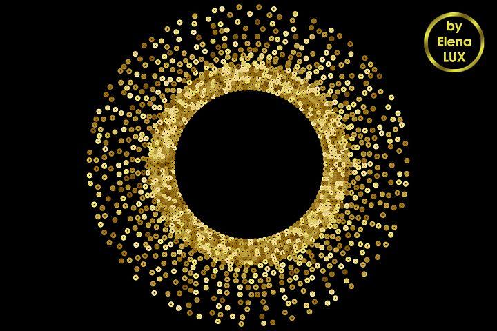 Gold Sequins Round Frame
