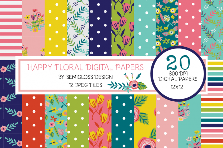 Bright Floral Digital Paper