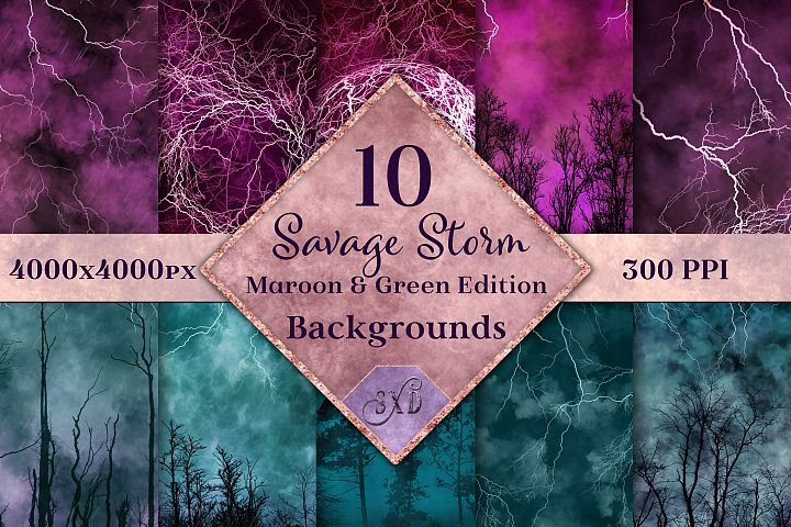 Savage Storm Maroon and Green Edition Backgrounds Set