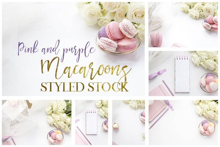 Pink and Purple Macaroons Styled Stock Photos bundle