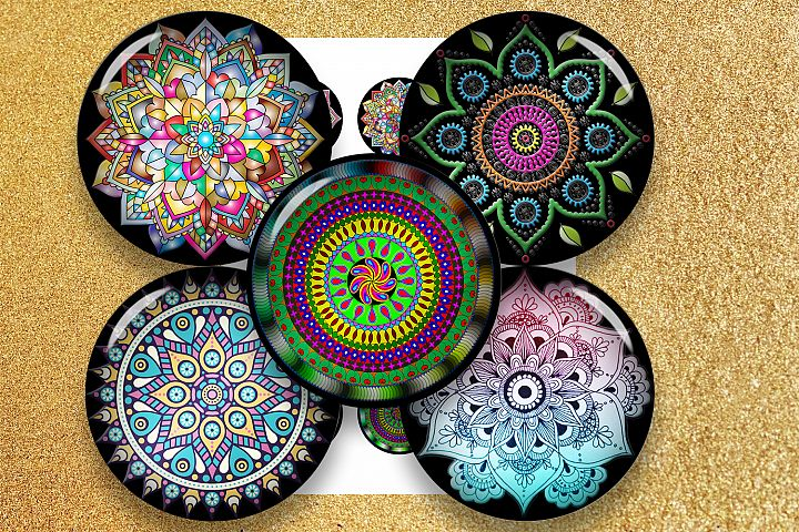 Mandala Ornaments, bottlecap images, jewelry,black friday