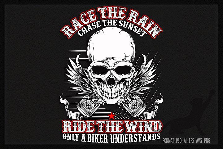 Biker Rain and Wind