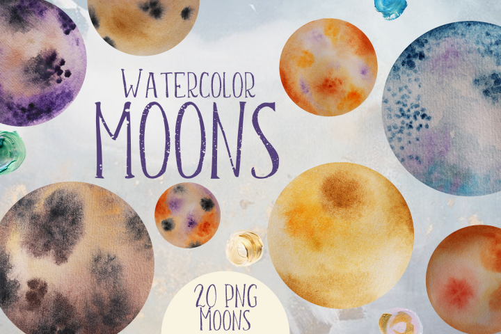 Watercolor Moons Clip Art