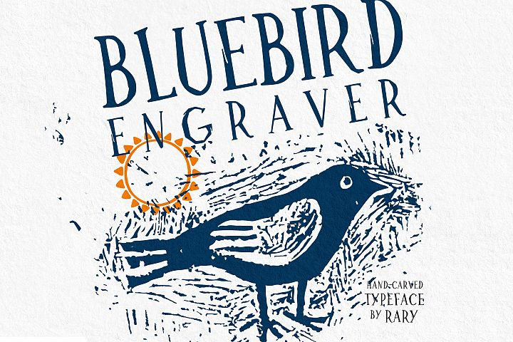Bluebird engraver Font | An artisan hand-made stamp type.