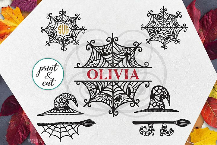 Halloween Spider Web Witch Hat Monogram bundle svg dxf pdf
