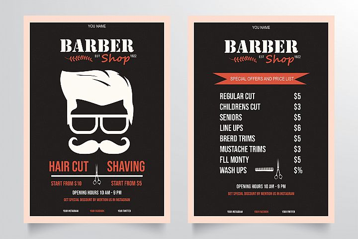 Classic Barber Shop Flyer Template