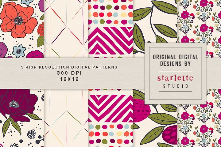 Colorful Blooming Hand-drawn Floral Pattern Set