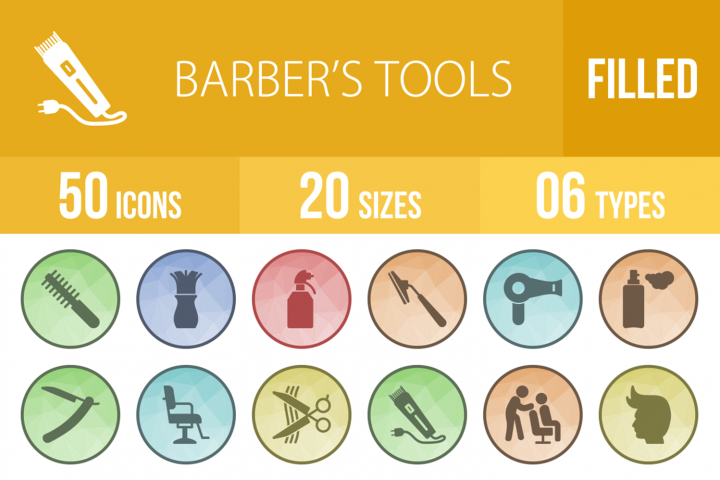50 Barbers Tools Filled Low Poly Icons