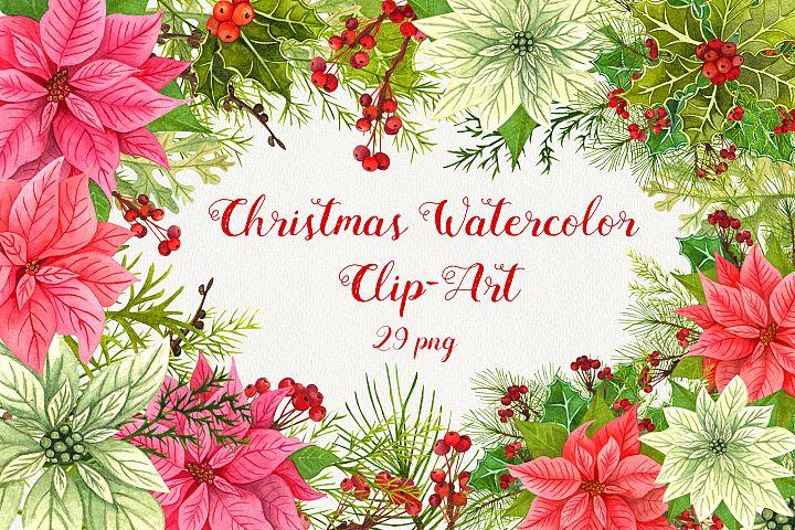 Christmas Watercolor Clip Art 600dpi