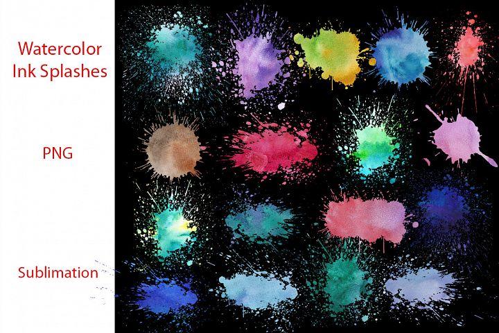 Watercolor Ink Splashes Bundle|Sublimation