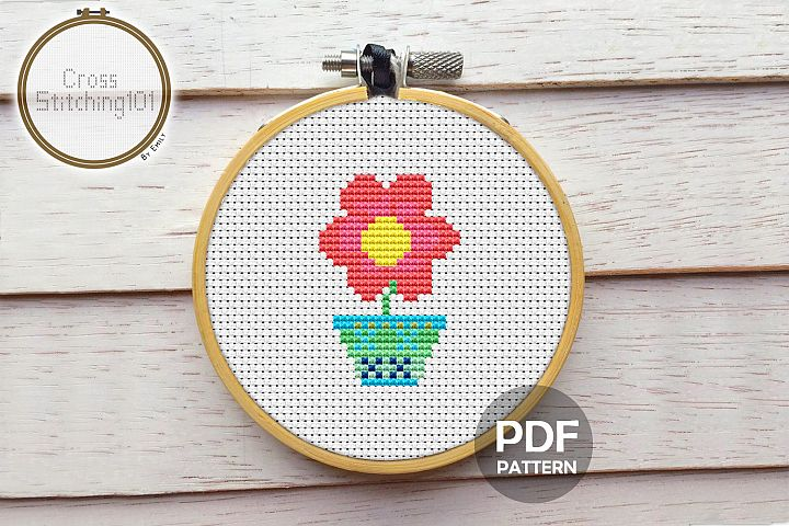 Flower Petal Cross Stitch Pattern - Instant Download PDF
