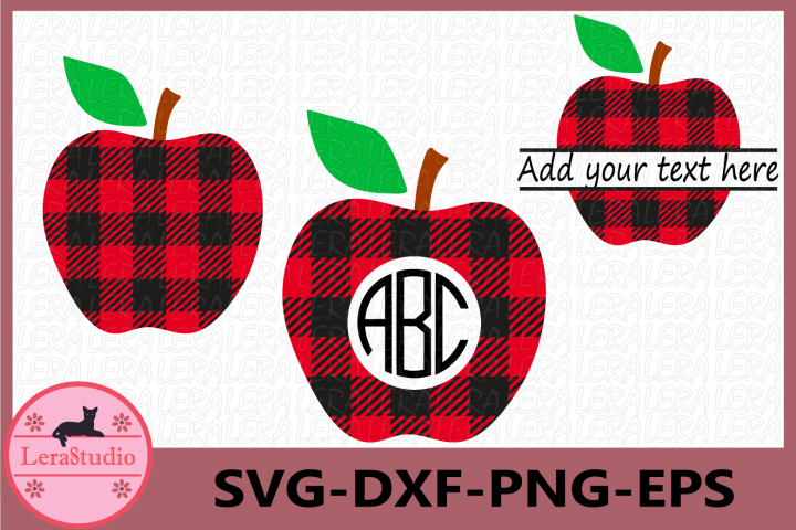 Apple Buffalo Plaid Svg, Monogram Apple SVG, Apple Plaid