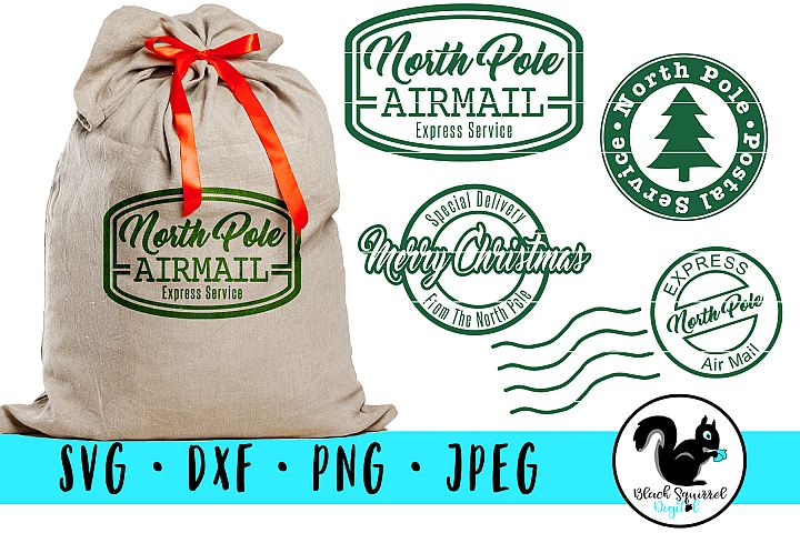 Christmas Stamps SVG, Santa Sack Clipart, North Pole Mail