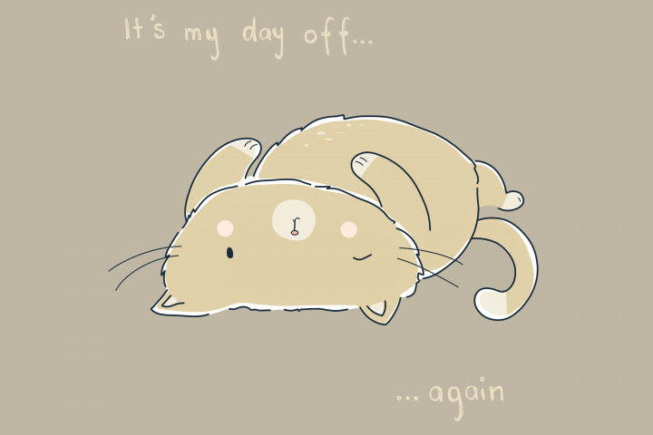 Day Off Cat | Clip Art Illustration | PNG/JPEG