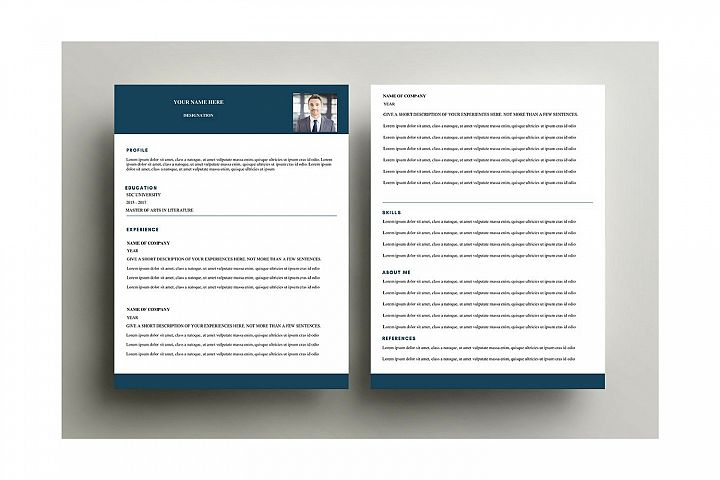 Simple blue formal resume