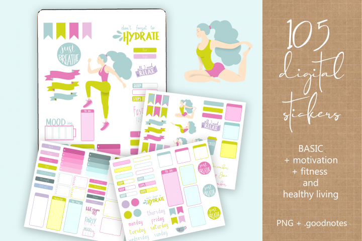Digital Stickers - Fitness Healthy - PNG and GoodNotes