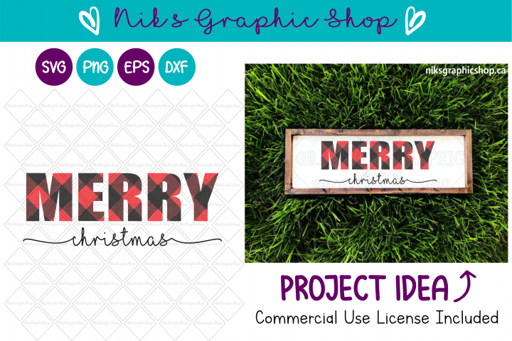 Christmas Svg, Buffalo Plaid Svg, Plaid Merry Christmas Svg