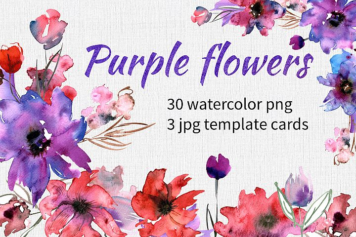 Watercolor Purple Flowers