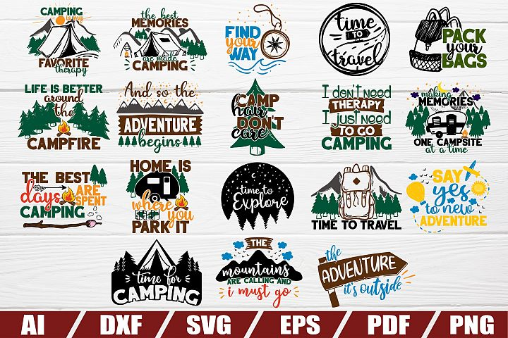 Camper SVG bundle - 18 designs - cut file - eps - camping