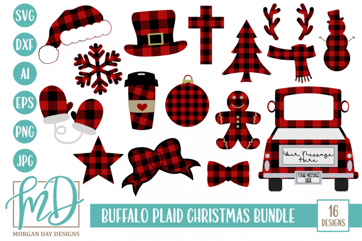Buffalo Plaid Christmas Bundle SVG, DXF, AI, EPS, PNG, JPEG