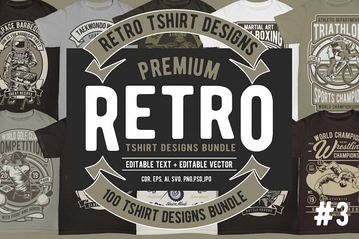 100 Retro Tshirt Designs Bundle 3
