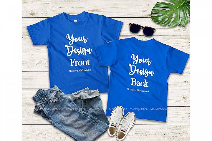Kids Front & Back Blue Tshirt Mockup, Teen Shirt Mock Up