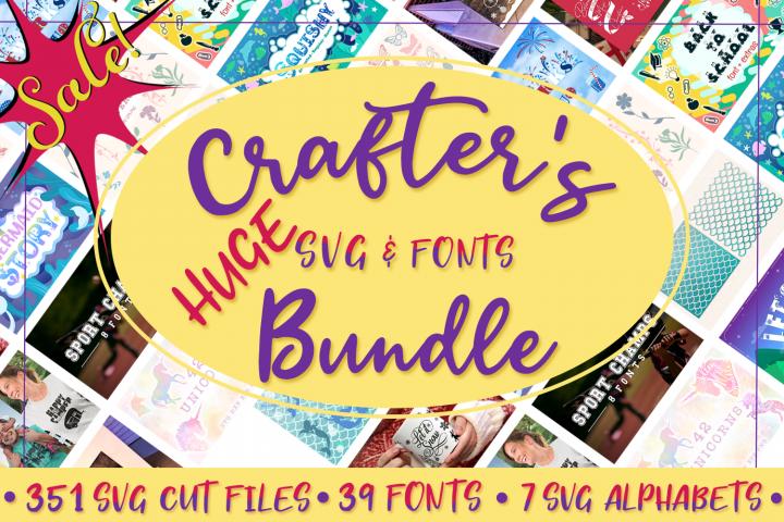 Crafters Huge SVG Bundle - 350 SVG Cut Files & 39 Fonts