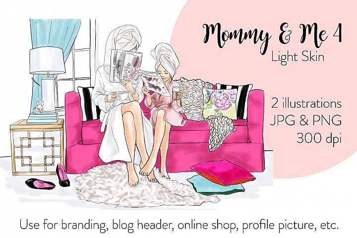 Fashion illustration - Mommy & Me 4 - Light Skin