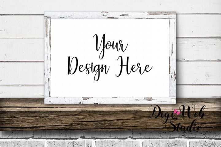 Wood Sign Mockup - White Distressed Wood Frame on Mantel