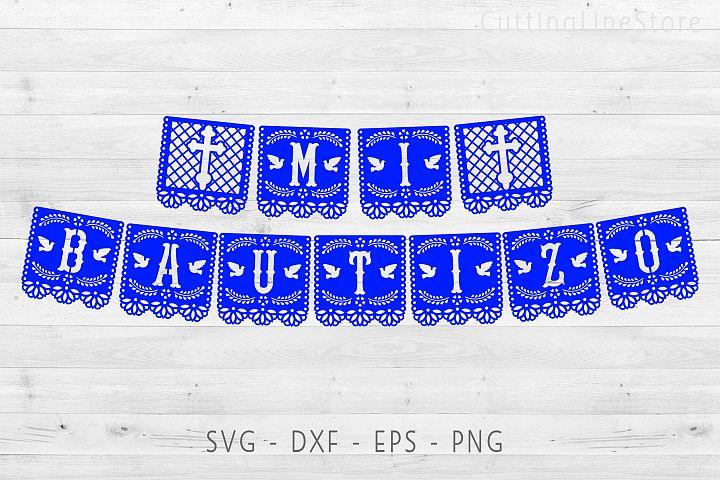 Mi bautizo banner in papel picado style, Svg file for cricut