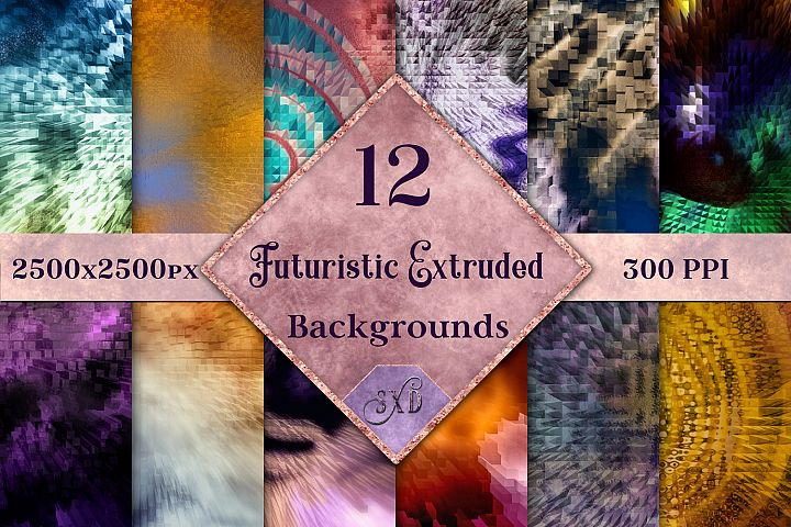 Futuristic Abstract Extruded Backgrounds - 12 Image Textures