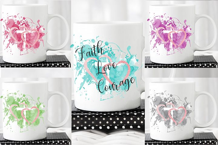 Sublimation LOVE FAITH Backgroung Colour Splashes PNG bundle
