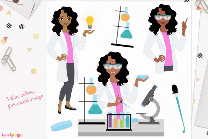 Scientist woman character clip art (L292 Dezi)