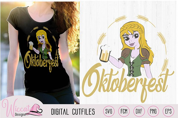 Oktoberfest girl svg, pin-up Cartoon girl in lederhosen