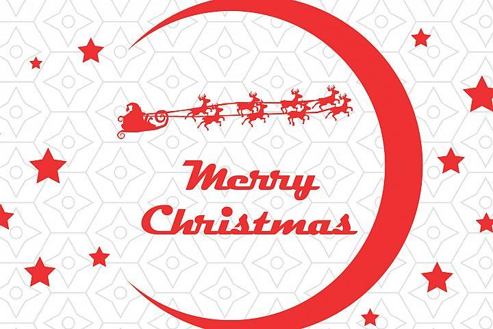 Santa Claus in his Sleigh Merry Christmas Decal