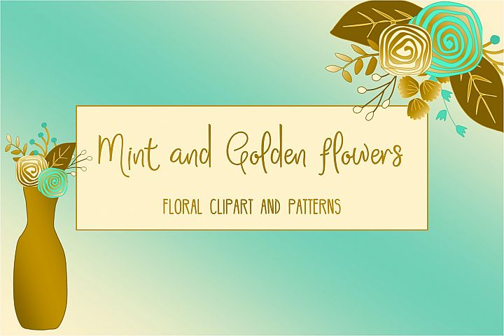 Gold and mint  floral collection. Clip art and patterns.