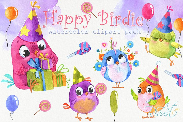 Birthday watercolor clipart with cute birds, balloons, candy