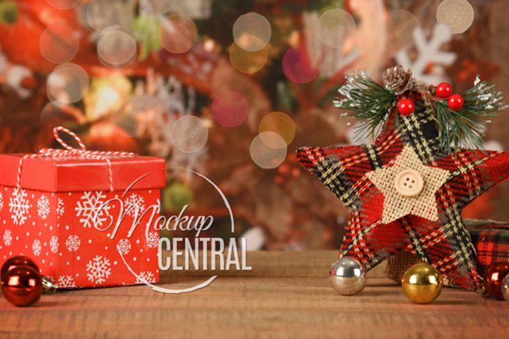 Rustic Christmas Background Tabletop Mock Up, JPG Mockup