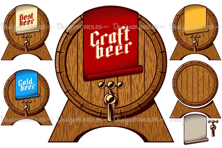 Beer Tap Barrel Wooden Keg Cask Craft Cold Best Label