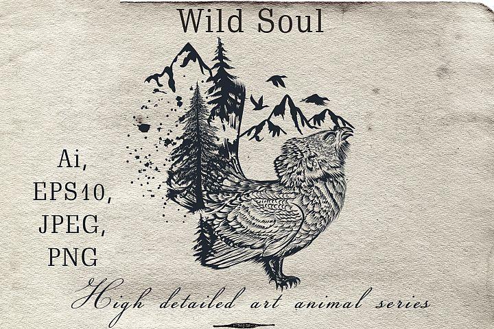 Animal series, wild soul black grouse vector illustration