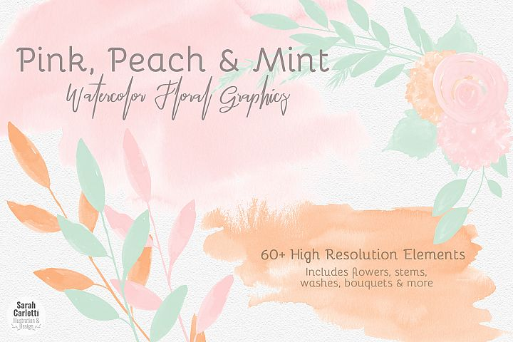 Watercolor Washes and Flowers Clipart, Watercolor Florals, Pink, Mint, Peach, Watercolor Textures