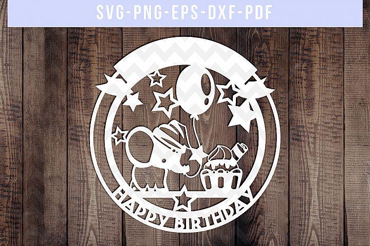 Party Elephant 3 Papercut Template, Birthday Decor SVG, PDF